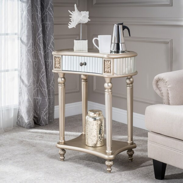 Taylor Mirrored End Table by House of Hampton