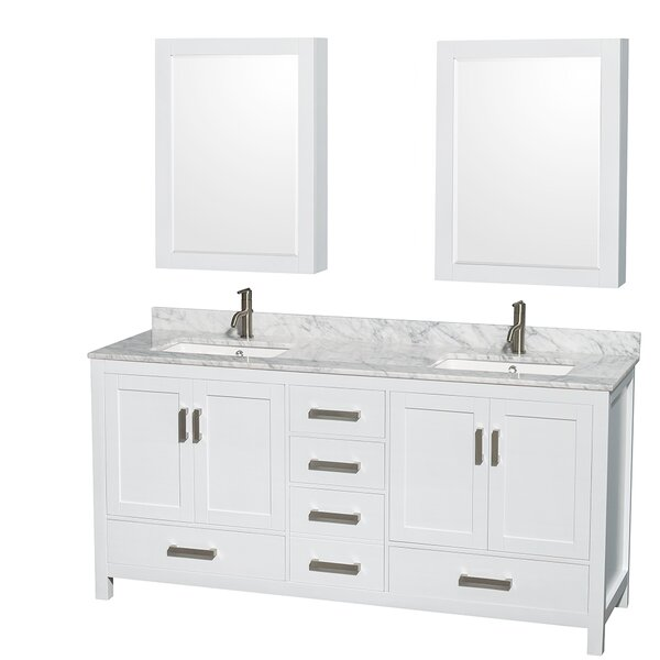 Sheffield 72 Double Bathroom Vanity Set with Mirror
