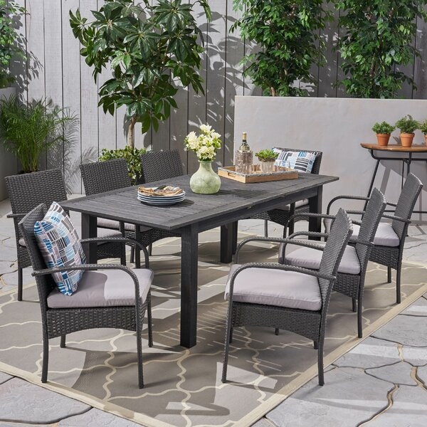 Meissner Outdoor Expandable 9 Piece Dining Set with Cushions by Gracie Oaks