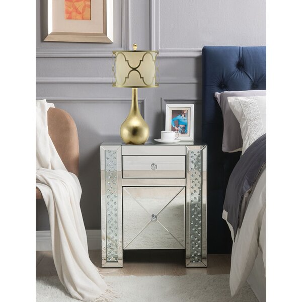 Cleorand 2 - Drawer Glass Bachelor's Chest in Silver by Everly Quinn Everly Quinn