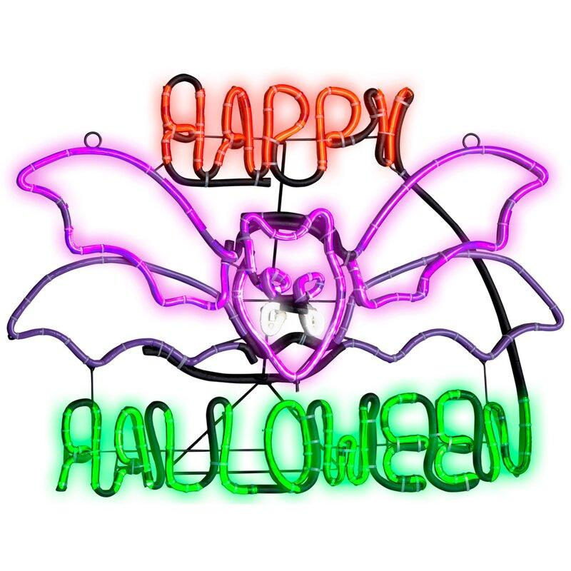 light glo flashing flying bat with happy halloween lighted display
