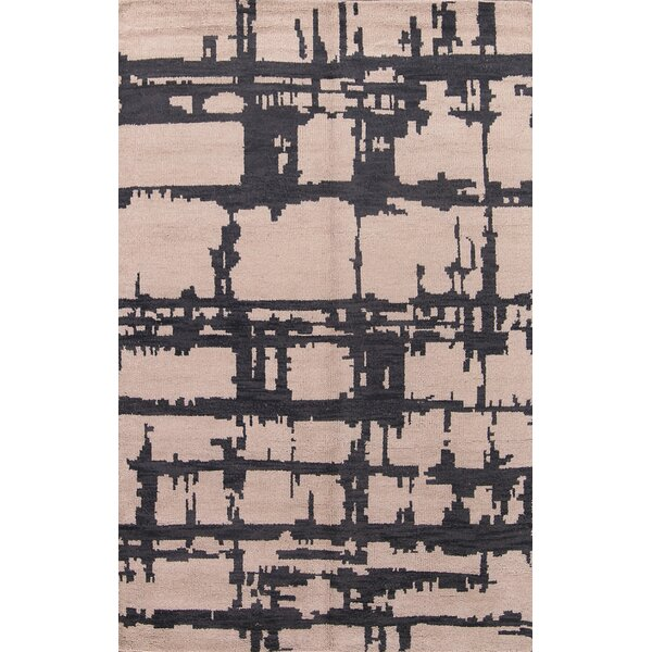 Sylvester Moroccan Traditional Oriental Hand-Knotted Wool Beige/Black Area Rug by Williston Forge