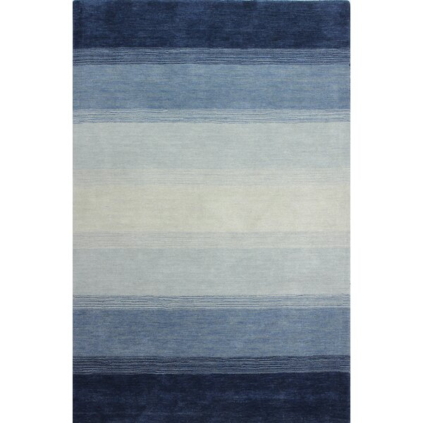 Hand-Woven Wool Blue Area Rug by Mercury Row
