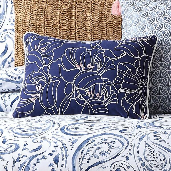 Janiyah Decorative Embroidered Floral Cotton Throw