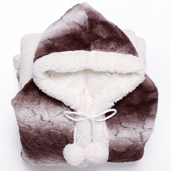 Shady Ultra Plush Sherpa Lined Snuggle Up Animal Print Hoodie Wearable Blanket by Chic Home