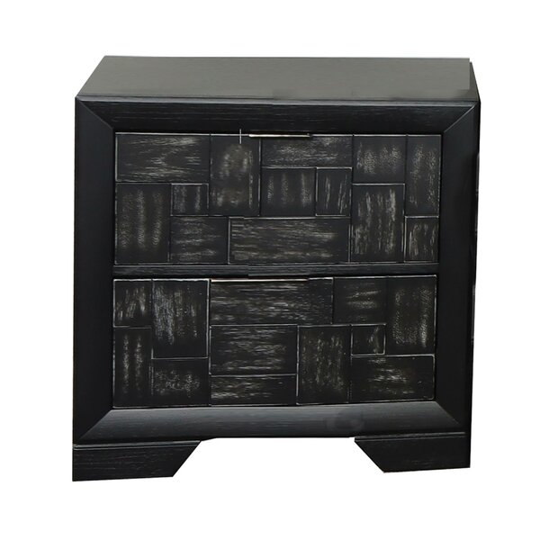 Aanshi 2 - Drawer Nightstand In Black By Latitude Run