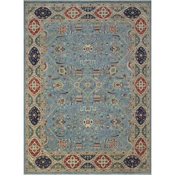 One-of-a-Kind Longoria Hashem Hand-Knotted Wool Blue Area Rug by Canora Grey