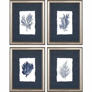'Coral' 4 Piece Framed Graphic Art Print Set on Wood by Longshore Tides
