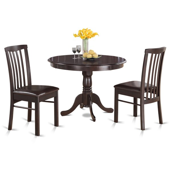 Artin 3 Piece Rubber Solid Wood Bistro Dining Set by Andover Mills Andover Mills