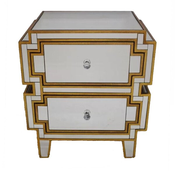 Holbrook Mirrored 2 Drawer Nightstand by Rosdorf Park
