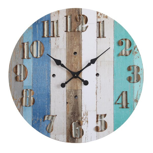 Haubert Round MDF Wall Clock by Highland Dunes