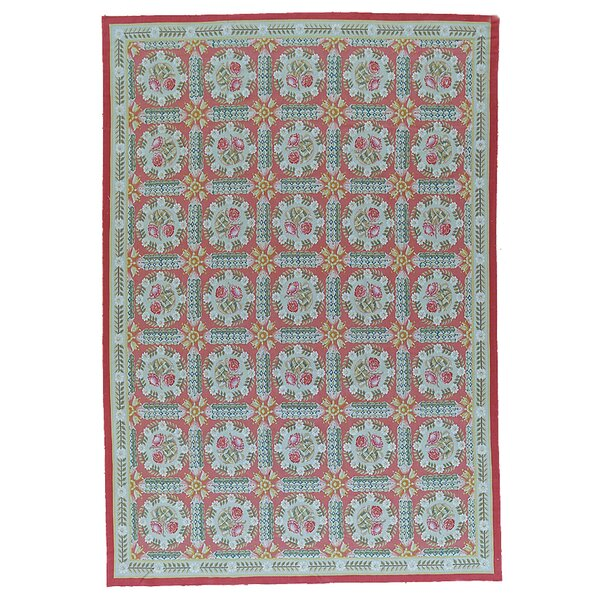 Aubusson Hand-Woven Wool Red/Blue Area Rug by Pasargad