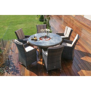 LA Round 6 Seater Dining Set With Cushions And Ice Bucket