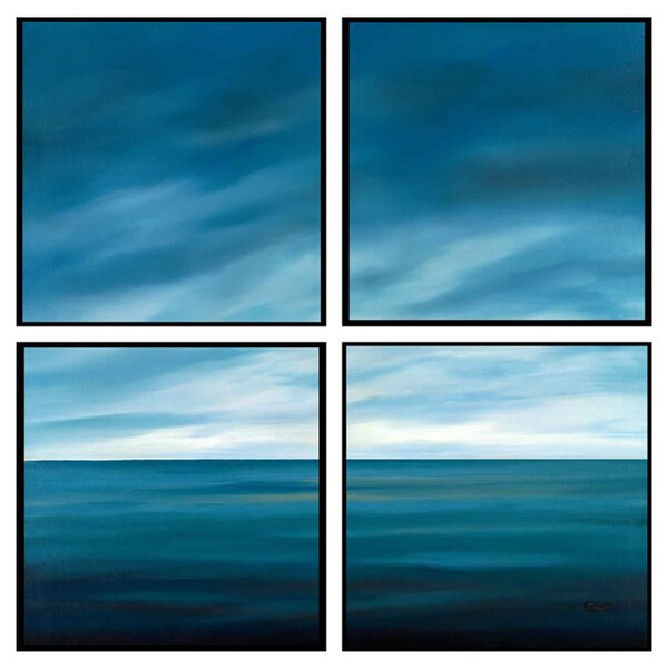 Ocean 4 Piece Framed Painting Print Set by PTM