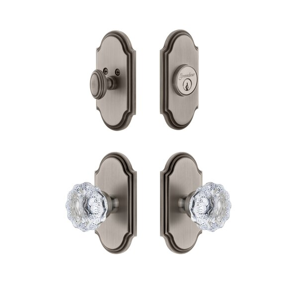 Arc Single Cylinder Knob Combo Pack with Fontainebleau Knob by Grandeur