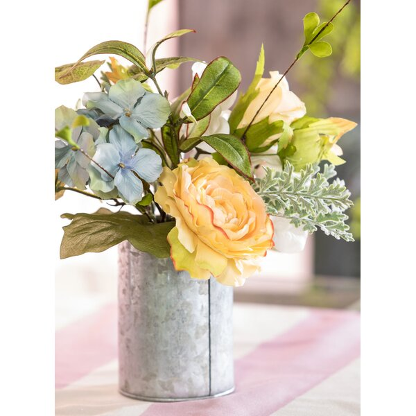 Rose and Hydrangea Floral Arrangement in Pot by Gracie Oaks
