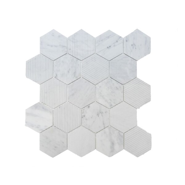 Hex Honeycomb 3 x 3 Mosaic Tile in Bianco Carrara by Ephesus Stones