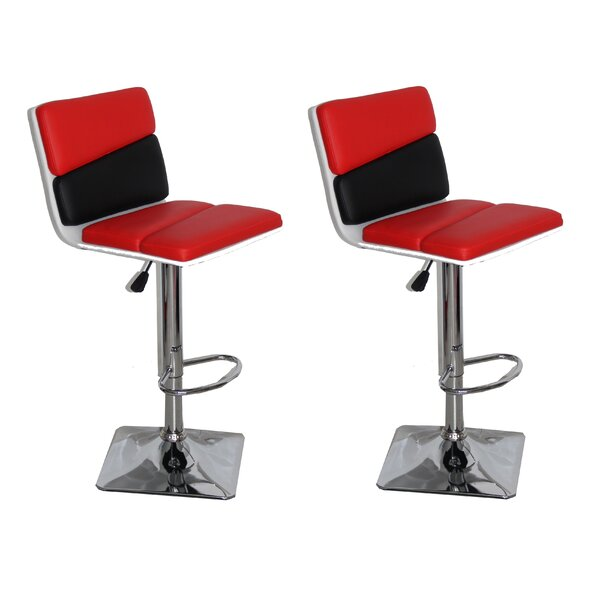 Jerri Adjustable Height Swivel Bar Stool (Set of 2) by Orren Ellis