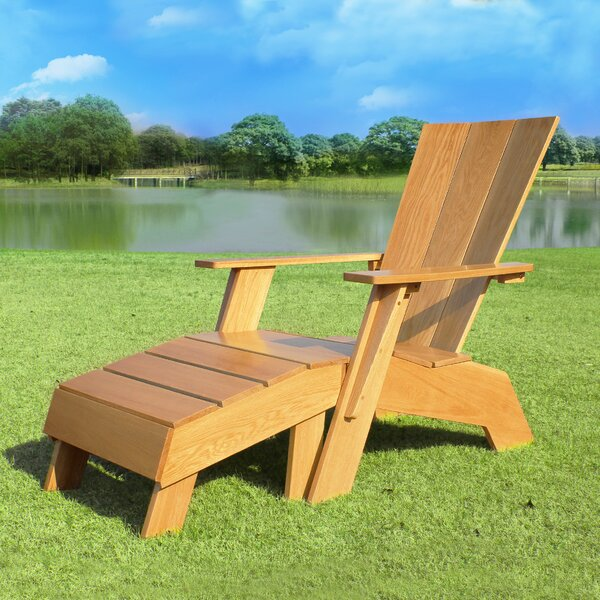 Rumfelt Solid Wood Adirondack Chair with Ottoman by Millwood Pines Millwood Pines
