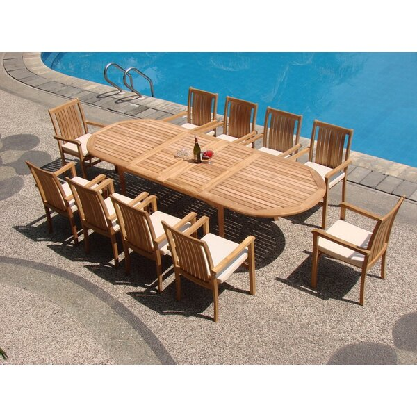 Semaj Luxurious 11 Piece Teak Dining Set by Rosecliff Heights