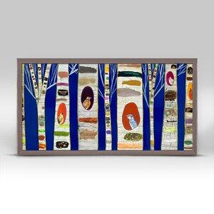 'Birch Tree With Wild Birds' on Cobalt Blue Background Framed Print on Canvas by Winston Porter