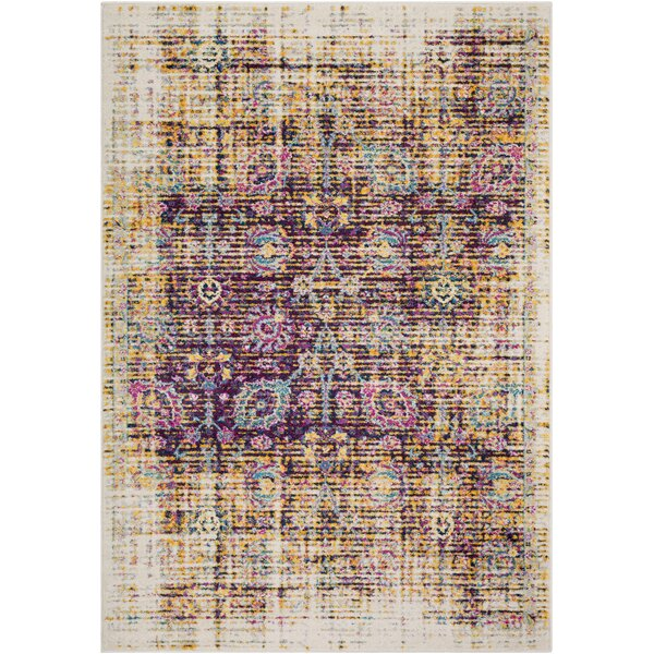 Kay Distressed Purple/Brown Area Rug by Bungalow Rose