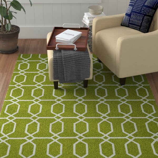 Stepanie Green/White Indoor/Outdoor Area Rug by Winston Porter