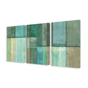 'Blue and Green Abstract' 3 Piece Graphic Art on Canvas Set by Trent Austin Design