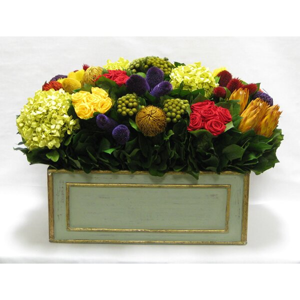 Mixed Floral Arrangement in Wooden Rectangle Large Container by Rosdorf Park