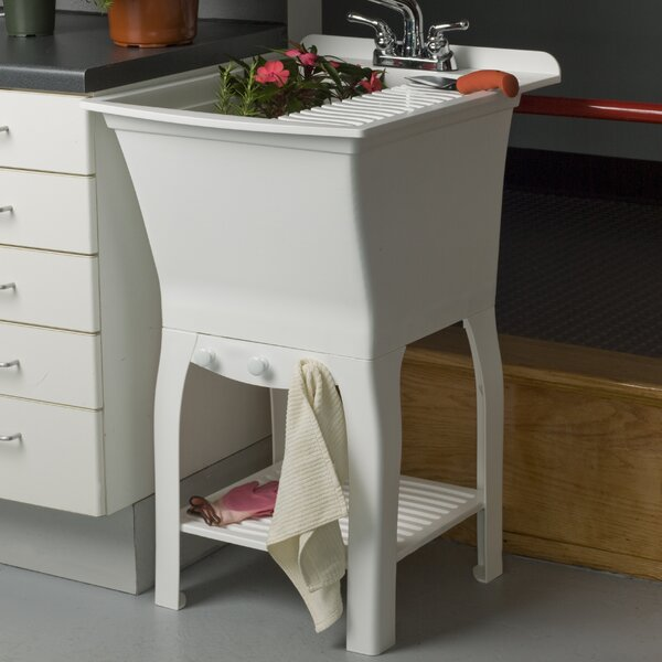 Fitz Workstation 20.5 x 25.75 Freestanding Laundry Sink with Faucet by Cashel