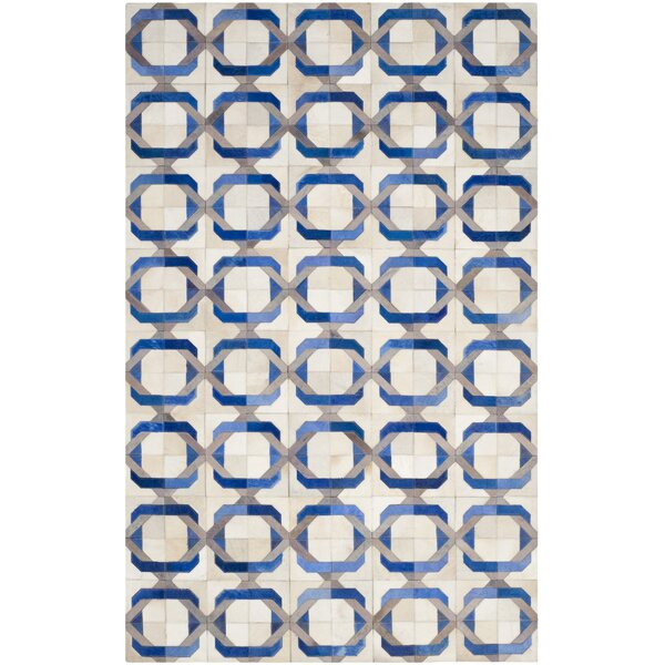 Cartwright Hand-Woven Ivory/Blue Area Rug by Brayden Studio