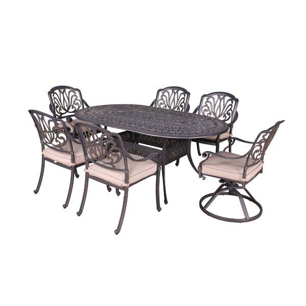 Gunter 7 Piece Dining Set with Sunbrella Cushions by Fleur De Lis Living