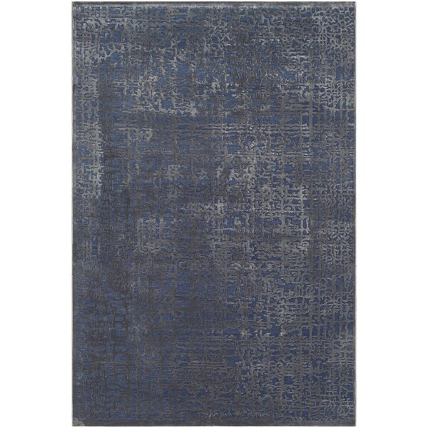 Barclee Abstract Dark Blue/Charcoal Area Rug by House of Hampton