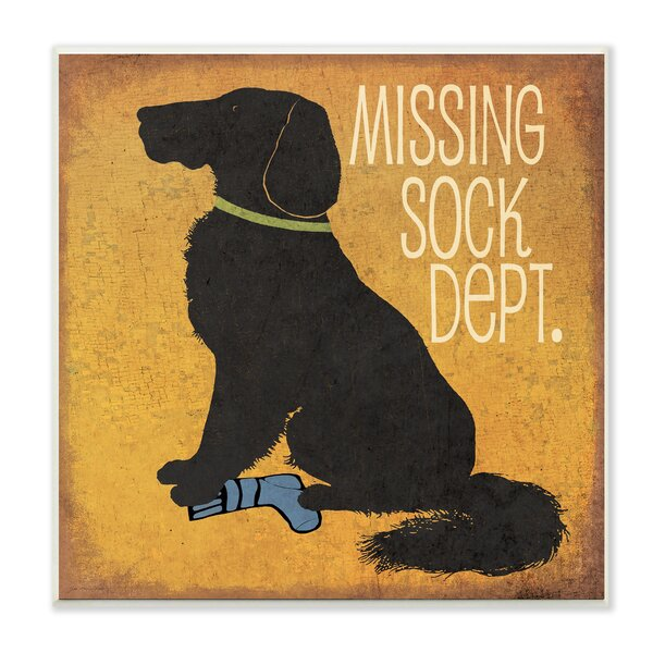 Missing Sock Dept. with Dog Textual Art Wall Plaque by Stupell Industries