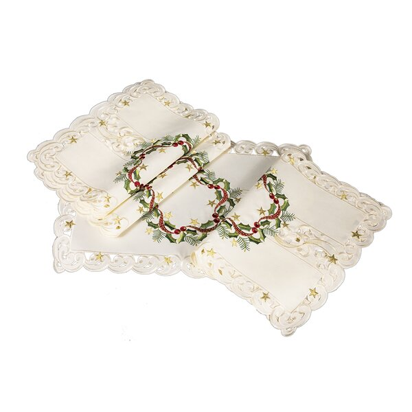 Gala Ribbon Wreath Embroidered Cutwork Christmas Placemat (Set of 4) by Darby Home Co