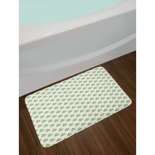 Vintage Summer Forest in Green Exotic Island Relaxing Natural Landscape Art Bath Rug by East Urban Home