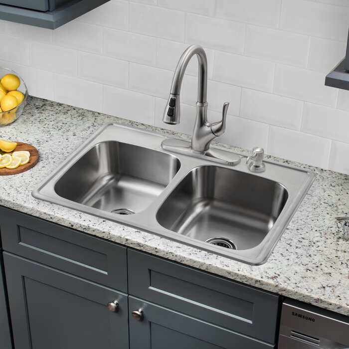 33 L X 22 W Double Bowl Drop In Stainless Steel Kitchen Sink With Faucet