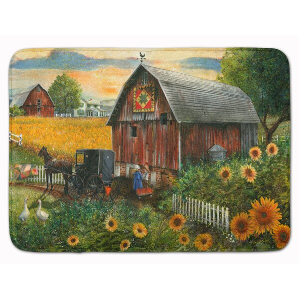 Lexi Sunflower Country Paradise Barn Memory Foam Bath Rug by August Grove