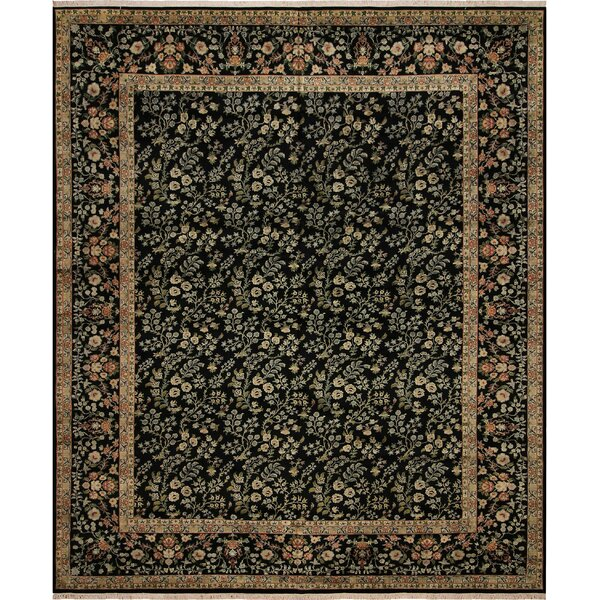 One-of-a-Kind Aaru Hand-Knotted 1960s Black/Red 12'1 x 15'2 Wool Area Rug