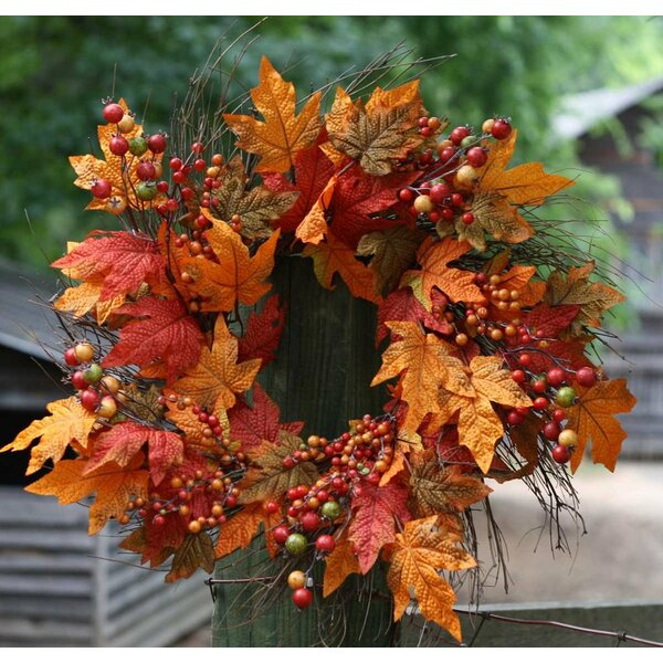 22 Autumn Berry Leaf Wreath by Flora Decor