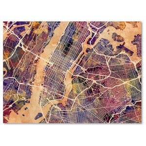 'New York City Street Map' Rectangle Framed Graphic Art on Wrapped Canvas by Ivy Bronx