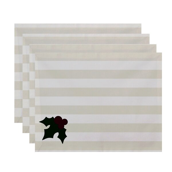 Holly Tones Holiday Stripe Print Placemat (Set of 4) by The Holiday Aisle