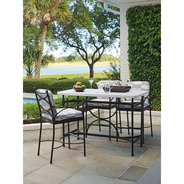 4 Piece Bar Height Dining Set with Sunbrella Cushions by Tommy Bahama Outdoor