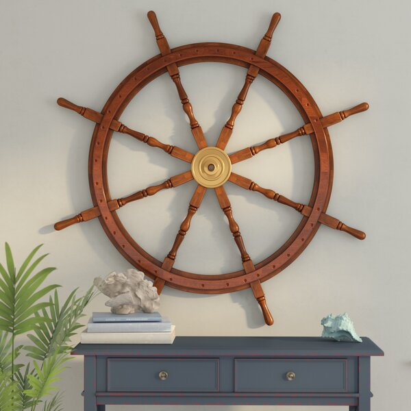 48 Wood and Brass Decorative Ship Wheel Wall Décor by Beachcrest Home
