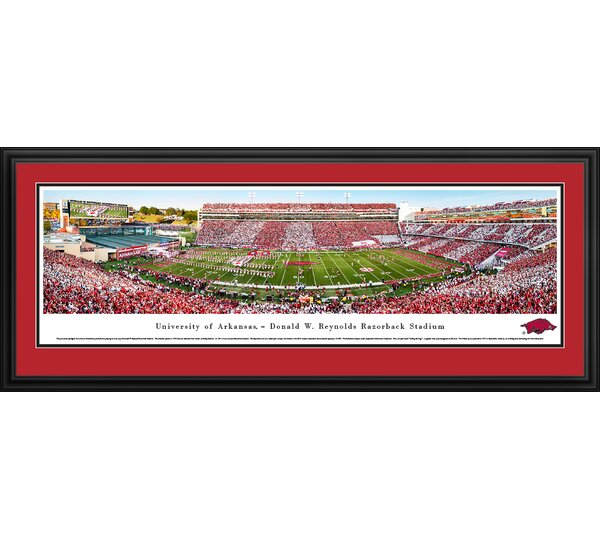 NCAA Arkansas Razorback Football Stripe Framed Photographic Print by Blakeway Worldwide Panoramas, Inc