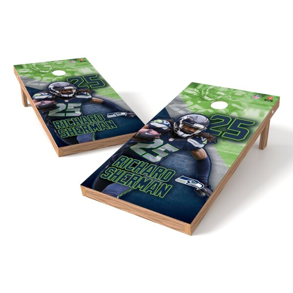 NFLPA Seahawks Richard Sherman Cornhole Board by Tailgate Toss