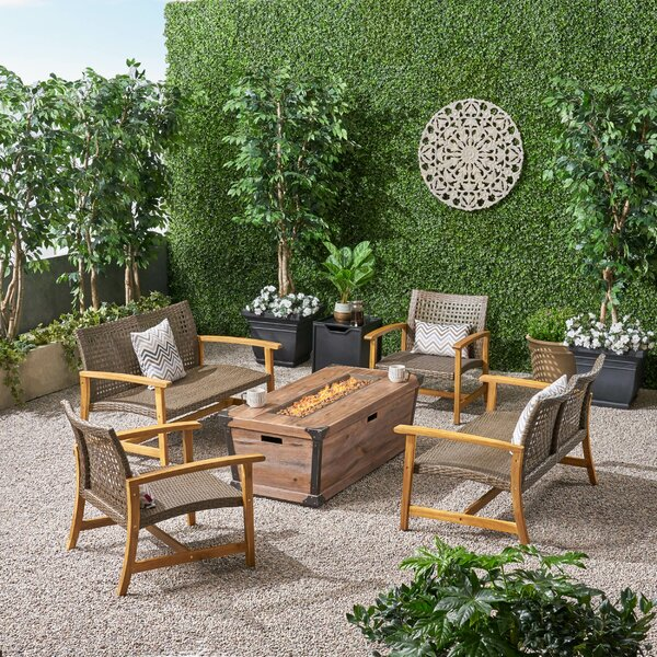 Brendon Outdoor 6 Piece Sofa Seating Group with Cushion by Loon Peak