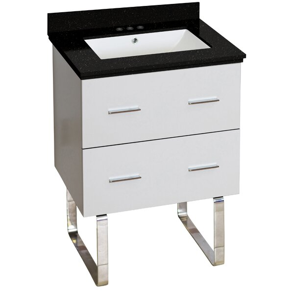 Phoebe Quartz Top Drilling Floor Mount 24 Single Bathroom Vanity Set by Orren Ellis