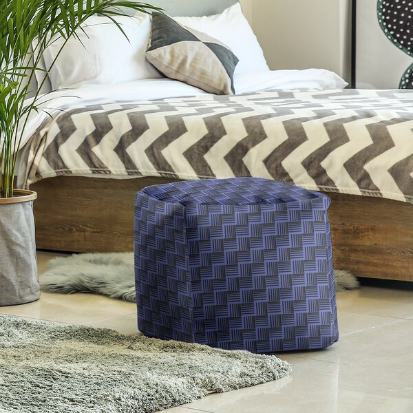 Classic Basketweave Stripes Cube Ottoman by East Urban Home