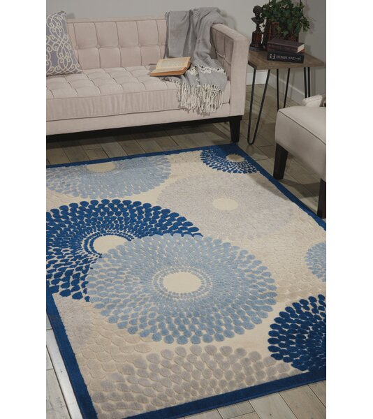 Jackie Ivory/Blue Area Rug by Zipcode Design
